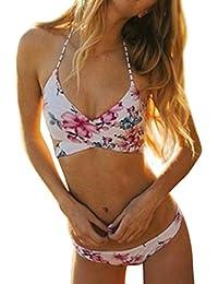 Igemy 1 SET Hochdrücken Gepolsterte BH Badeanzug Bade Sexy Frauen Blumen Bikini Set Badebekleidung