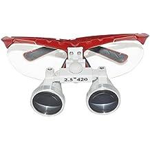 Denshine Médico Quirúrgico Dental Gafas Lupas Binoculares 2.5×420MM(Rojo)