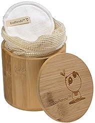 Tampons démaquillants en bambou par EcoPanda - 18 tampons par paquet, Tissu de coton biologique, Tampons de laine de coton réutilisables, Tampons de maquillage sans déchets, lavables