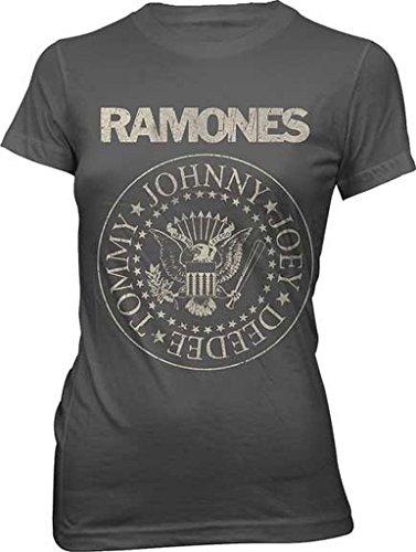 Ramones Distressed Seal Junior Donna Charcoal Maglietta