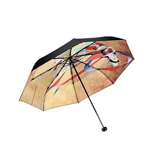 ZTMN Taschenschirme Kreativität Retro Regen und Sonnenschein Triple Folding Männer und Frauen Sonnenschirm Sonnencreme Schwarzer Kleber Sonnenschirm Anti-Ultraviolet Ray Rebound