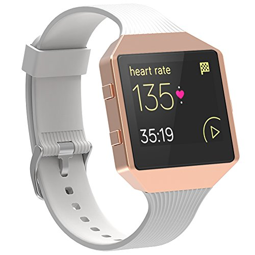 Fitbit Blaze Armband mit Metallrahmen, SnowCinda Premium Silikon Ersatz Uhrenarmband fur Fitbit Unisex Fitness Uhr Blaze Weis+Rose Gold Rahmen