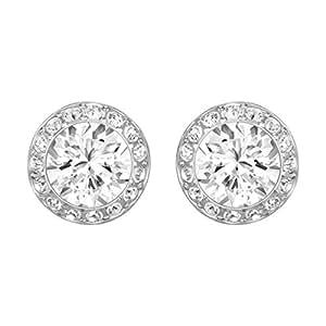 Swarovski Women's Rhodium Plating and White Crystal Angelic Pierced Earrings