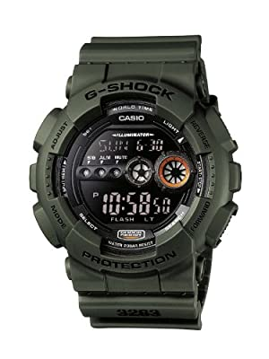 CASIO G-Shock GD-100MS-3ER de cuarzo, correa de resina color verde