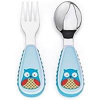 Skip Hop Zoo Little Kid & Juego De Cuchara Y Tenedor de utensilios de cocina, Multi