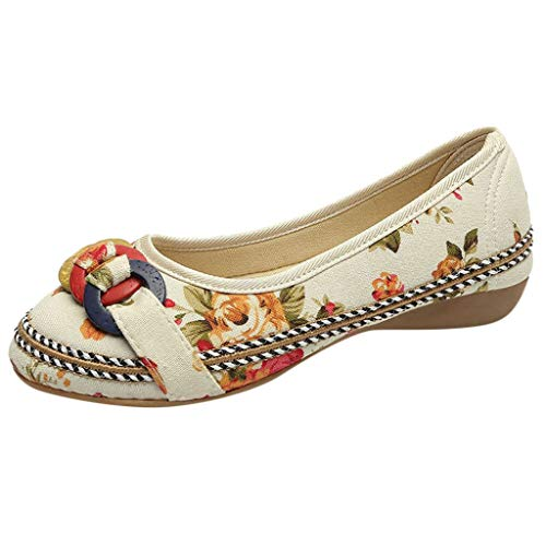 COZOCO Frauen ethnische Perlen Bunte Casual bestickte Schuhe Holz Hanf Seil Schuhe gedruckt Tuch Schuhe (36 EU, beige)