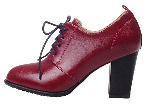 Haut Unie Chaussures Talon Rouge À Couleur Vineux Légeres Femme Xxd6X