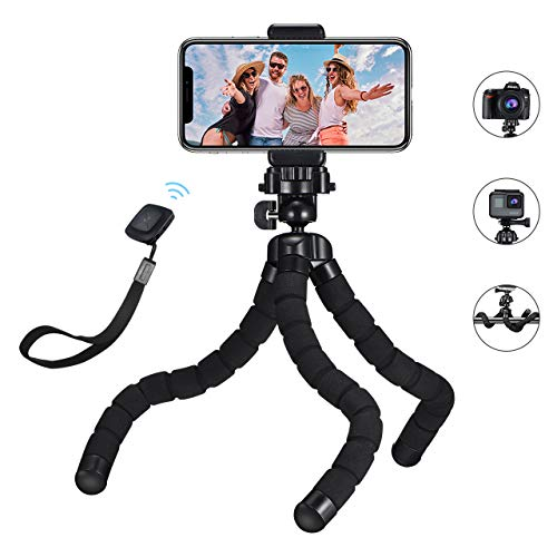 lexibel Smartphone Stativ Kamera Stativ mit Bluetooth Fernsteuerungr, Mini Reise Stativ Dreibeinstativ Ständer für Gopro, iPhone, Sumsung, Huawei und andere Android-Smartphone ()