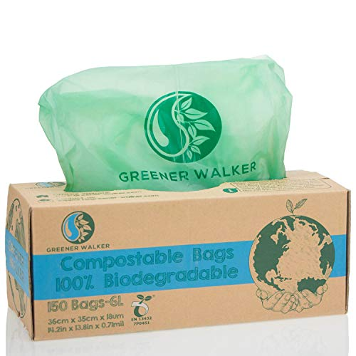 Greener Walker 100% compostable Biodegradable 6L Bolsa Basura Alimentos Cocina Bolsas de basura-150...