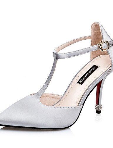 LFNLYX Scarpe Donna-Sandali-Formale-Tacchi / A punta / Chiusa-A stiletto-Seta-Nero / Grigio gray