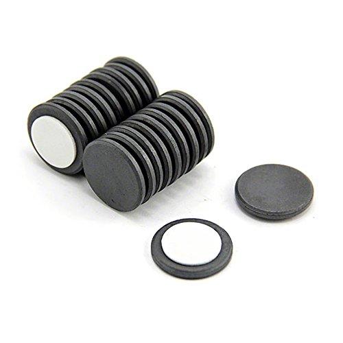 First4magnets F253FA-20 25mm Durchmesser x 3mm dicken Y10 Ferrit-Magnet mit Klebeschaum Self - 0,69 kg ziehen (Packung mit 20), silver, 25 x 10 x 3 cm