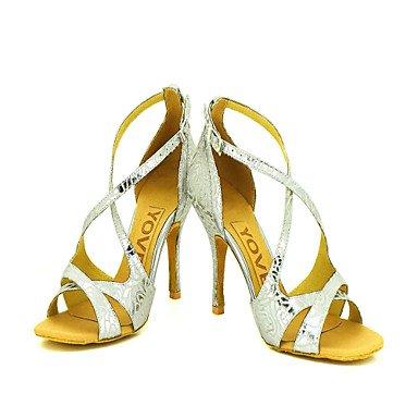 Silence @ pour femme Chaussures de danse latine/salle de bal en similicuir Stiletto Talon Argent Silver