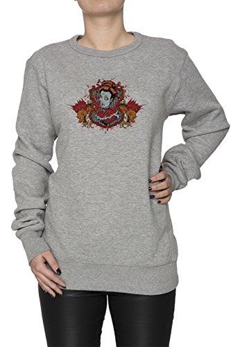 Scrittura cinese e la donna Iwth due draghi Donna Grigio Felpa Felpe Maglione Pullover Grey Women's Sweatshirt Pullover Jumper