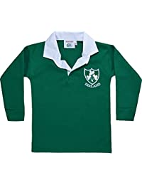 Childrens Ireland Shamrock Tops 6 Nations World Cup Kids Full Sleeve Retro Rugby Shirts