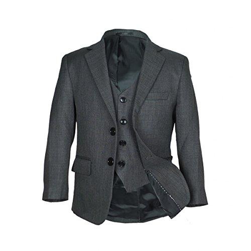 3 or 5 PC Italian Schnitt Jungen dunkel grauer Anzug, Seite Junge Hochzeit Ball Abendessen Jungen Anzüge - Dunkelgrau 5 Teile, 164 (Navy 3-tasten-anzug)