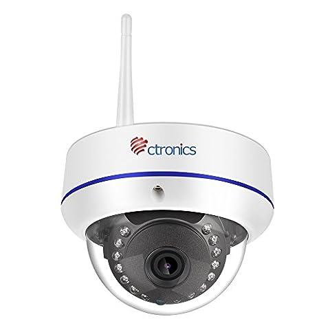 【1080P】Ctronics Ueberwachungskamera Dome Kamera IP WIFI Wireless Kamera 1080p, 20m IR 2.8mm Objektiv, ONVIF SD-Karte Slot CTIPC-224C1080PWS