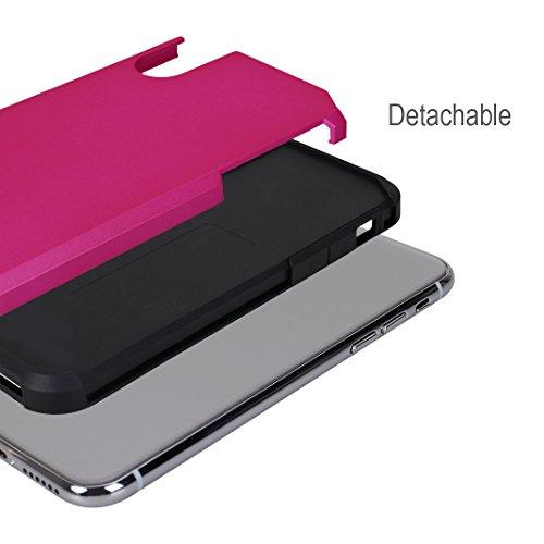 iPhone X Hülle, Asnlove Caso Hybrid Doppelschichter Schutz Premium Handyhülle Tasche Silikon TPU Schale Schwarz mit PC Farbenrahmen Dual Layer Schutzhülle und 360 Grad Drehbare Klammerfunktion Herausn rose red