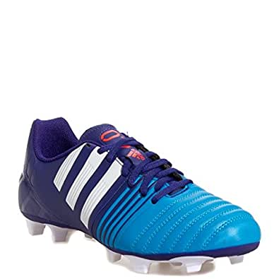 Adidas Nitrocharge 4.0 FG Kids Soccer/Football Shoes - Amazon Purple/White/Solar Blue (Ind/Uk 11)