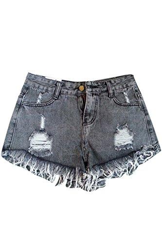 Women High Waist Denim Shorts Ripped Hot Plus Size Jeans