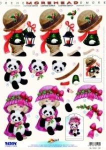 """REDDY 3D-Stanzbogen MOREHEAD, """"Junge mit Laterne, Mädchen mit Pandabär"""", Bogengröße DIN A4"""