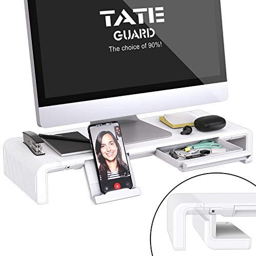 Faltbarer Monitorständer Riser TATEGUARD Computer Monitorständer mit Verstellbarer Breite für iMac Drucker Laptop mit Aufbewahrungsschublade Tablet & Handyständer Halter Weiß