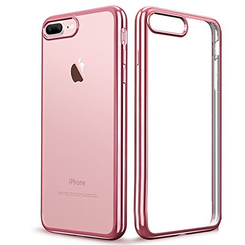IPhone 7 Plus Case (5.5 inch) ,koala group Plating metal frame TPU soft case Ultra-Thin Shock Resistant transparent protective case (Gold) Rose gold