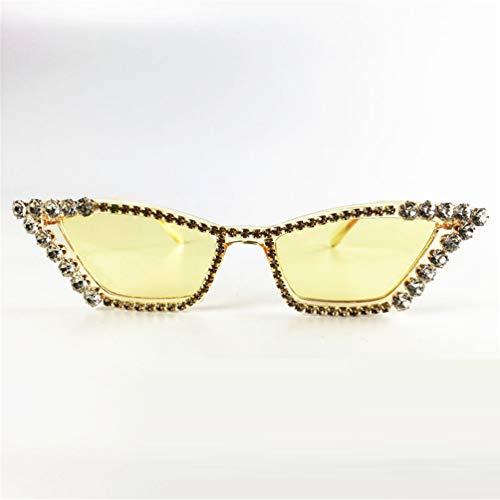 FILTERQ Unisex-Adult Sparkle Sparkling Vintage Star Strass Cat Eye Sonnenbrille Neuheit Glitter Shades Damen & Mädchen,Yellow