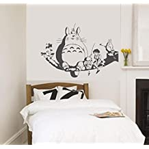Chubby Totoro en rama de árbol de pared arte de la pared de guardería 90 x 60 cm Anime de Vinilo decoración Totoro wallkraft adhesivo de quita y pon