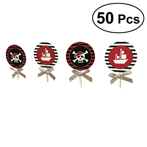 BESTONZON 50Pcs Cupcake Toppers Kuchen Picks Cocktail-sticks Essen Zahnstocher Halloween Party Kuchen Dekorationen (Piraten Schädel und Boot)