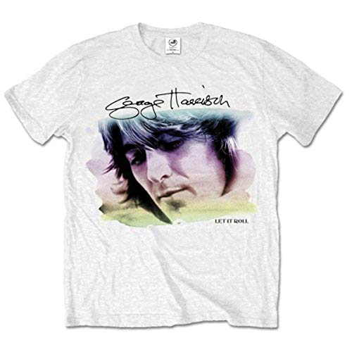 George Harrison Water Colour Portrait T-Shirt, Blanc, Large Homme