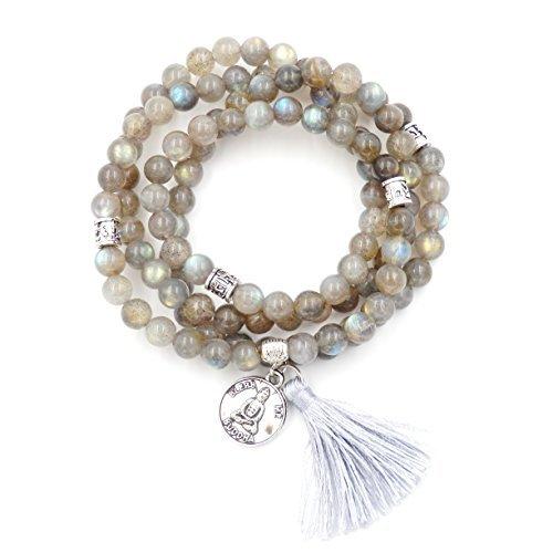 mala perlen armband, buddhistische gebetsperlen, lappen armband, buddha weniger mich erklärung halskette (labradorit)