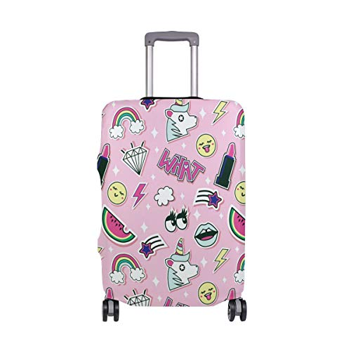 ALINLO Pink Mädchen Einhorn Lippenstifte Regenbogen Muster Gepäck Koffer Reiseschutz Fit für 45,7-81,3 cm