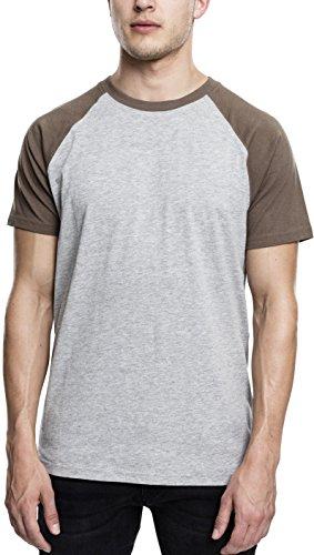 Urban Classics Herren Regular Fit T-Shirt Raglan Contrast Tee TB639, Gr. Medium, Mehrfarbig (Grey/Army Green 1155) (Tee T-shirt Army Green)
