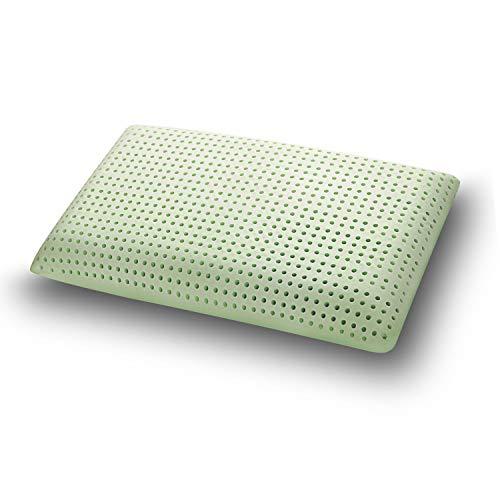 Sleepys cuscino in memory foam aloe vera, 74x42 alto 13 cm saponetta forato con fodera in jersey 100% cotone - guanciale aloe vera idratante antiage