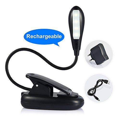 Ledgle Wiederaufladbar 4 LED Buch Lampe Clip-on Lesen Lampe, Reise Lampe, Tischlampe, 300lux, 2-Stufen Beleuchtung, AC Adapter und USB Kabel enthalten, Tageslicht Weiß