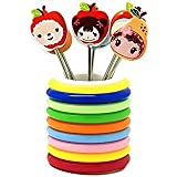 Swarish Cartoon Shaped Stainless Steel Fruit Fork Set With Round Stand