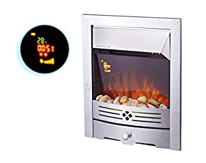 FoxHunter Traditional Electric Fire   Gold Frame Gas Coal Fire Flame Effect Fireplace Heater Remote Control   Indoor Home Heater Fire   Insert Style Fireplace - EFI03 Silver