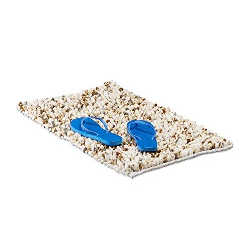 Relaxdays Badematte POPPY weich, handgefertiger Hochflor Teppich mit Noppen, Antirutsch Badvorleger 50x80 cm, creme