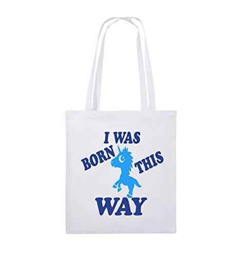 Comedy Bags - I was born this way - EINHORN - Jutebeutel - lange Henkel - 38x42cm - Farbe: Schwarz / Weiss-Neongrün Weiss / Royalblau-Hellblau