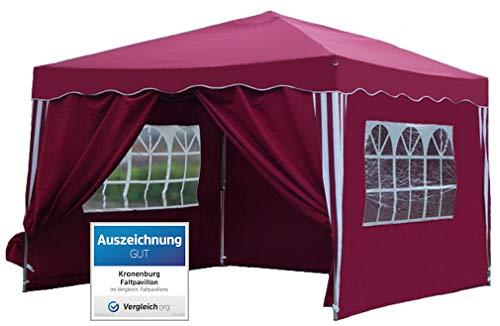 Kronenburg Falt Pavillon Dachmaß 3 x 3 m in rot mit 4 Seitenteilen