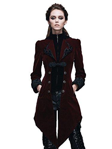 Victorian Samt (Gothic Damen Unregelmäßig Retro Lange Schwalbenschwanz Mantel Steampunk Frauen Herbst Winter Samt Jacken (Rot, S))
