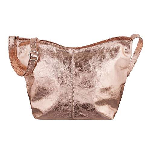 OBC Made in Italy Damen Leder Tasche Metallic Shopper Crossbody Umhängetasche Cross-Over City Bag Vera Pelle Schultertasche Hobo-Bag Clutch Schmucktasche (Rosa-Metallic)