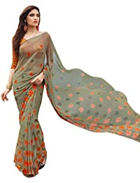 Craftsvilla Womens Georgette Printed Designer Multicolor Saree With Blouse Piece