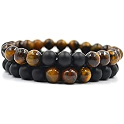 Juego de Pulseras de Cuentas de Piedras Naturales de Ojo de Tigre y Onix, regalo idel para amantes de Yoga, Chakras, Reiki