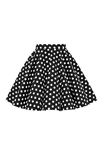 BlackButterfly Kinder Vintage 1950er-Jahre Mädchen Swing Tellerrock (Schwarz - Vintage, 11-12 J / 146-152) (Röcke Weihnachten Für Mädchen)