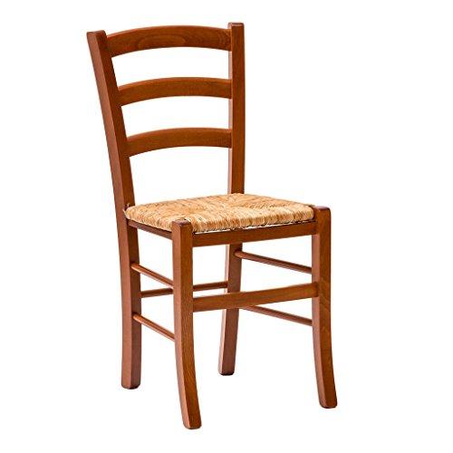 La seggiola paesana, art.133,  sedia struttura ciliegio, seduta in paglia di riso,  set. 2pz