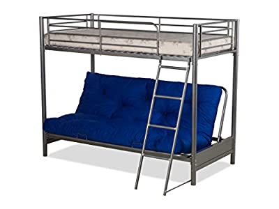 Humza Amani FUTON BUNK BED (With One Futon Mattress) IN SILVER METAL FINISH,kids bunk bed,guest bed turns in to sofa