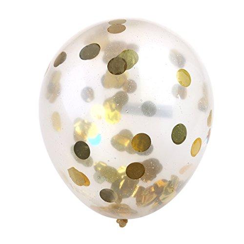 *NUOLUX 10pcs 2,8 g confettis ballons ballons transparents avec des confettis dorés pour les décorations prêt à acheter