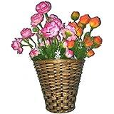 Northeast Handicrafts Traditional Handmade Cane Wall Hanging Flower Vase (Set Of 2)