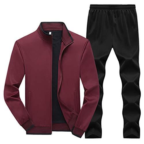 Sllowwa Herren Jogginganzug Trainingsanzug Sportanzug Herbst Print Zipper Sweatshirt mit Kapuze Top Hosen Sets L-5XL